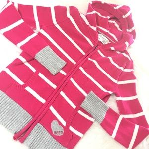 Hot Pink & Gray Stripped Zip-up Hooded Jacket!